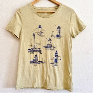 J.Crew lighthouse graphic tee yellow size small